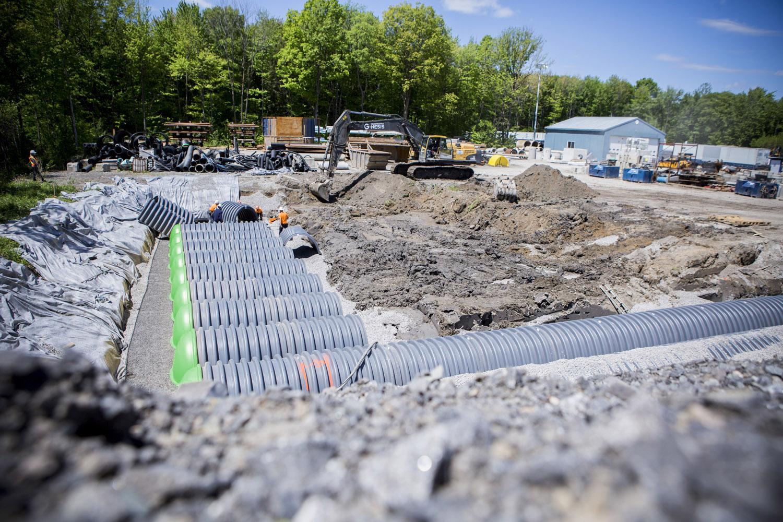 Bassin de r tention hydrostormd avec g omembrane tanche for Membrane etanche bassin